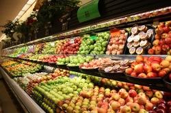 full grocery shelves